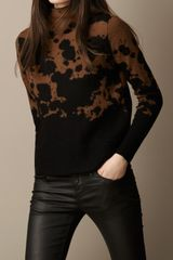 Burberry Splatter Print Funnel Neck Sweater - Lyst