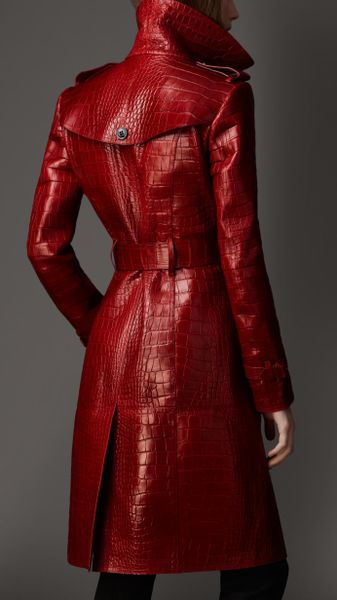 Burberry Long Alligator Leather Trench Coat In Red