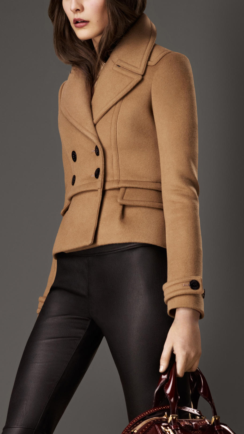 Burberry Bonded Wool Cropped Pea Coat in Brown | Lyst