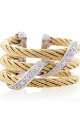Charriol Woven Diamond Pave Cable Ring Size 65 - Lyst