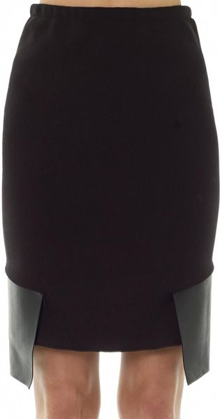 dion leather panel knitted pencil skirt in black lyst