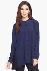 Eileen Fisher Mandarin Collar Silk Shirt - Lyst