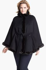 Ellen Tracy Faux Fur Trim Belted Cape - Lyst