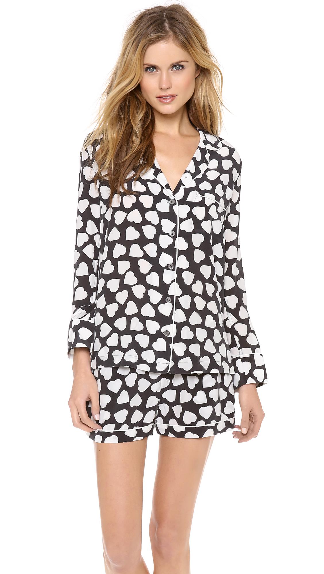 1da87e9e8c Lyst - Equipment Lillian Hearts Pajama Set in Black