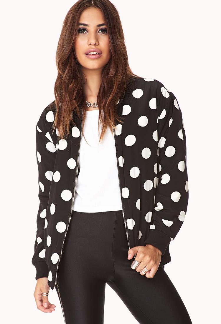 Black and white polka dot coat women's