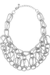 Fragments Chain Bib Necklace Rhodium - Lyst