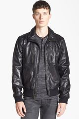 John Varvatos Leather Bomber Jacket - Lyst