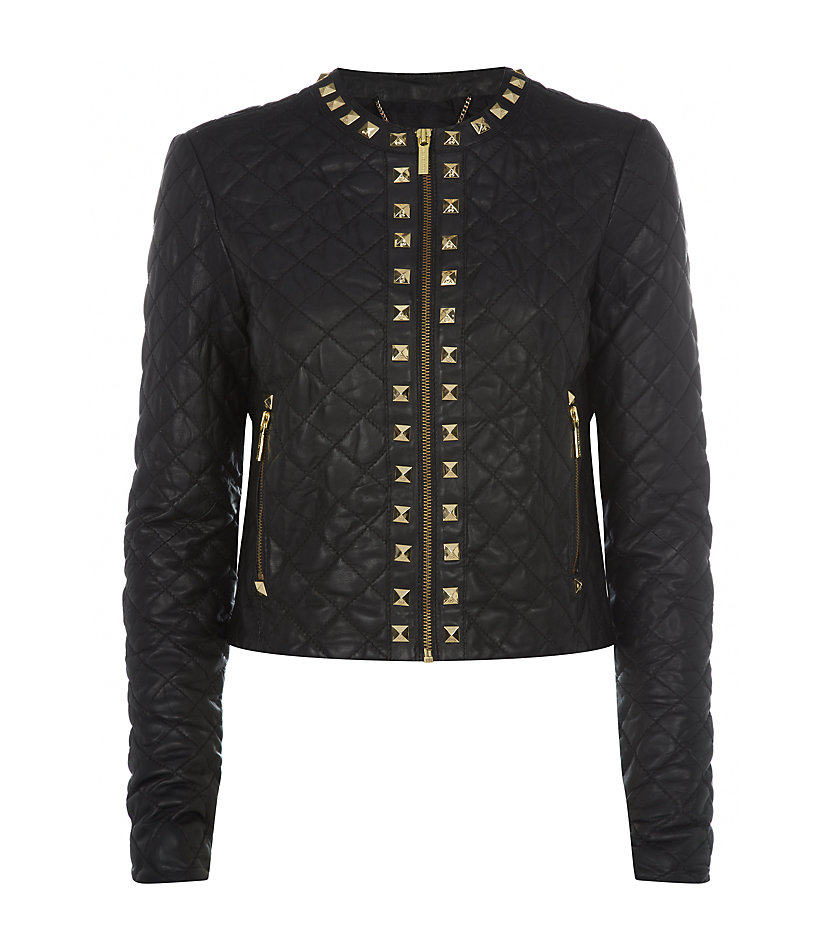 michael michael kors studded leather jacket in black gold lyst. Black Bedroom Furniture Sets. Home Design Ideas