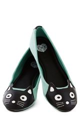 ModCloth Up Your Alley Cat Flat in Mint - Lyst