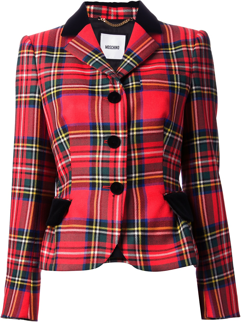 Lyst Moschino Tartan Peplem Riding Jacket In Red