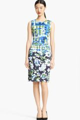 Oscar de la Renta Painted Floral Print Sheath Dress - Lyst