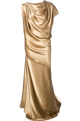 Plein Sud Draped Full Length Dress - Lyst