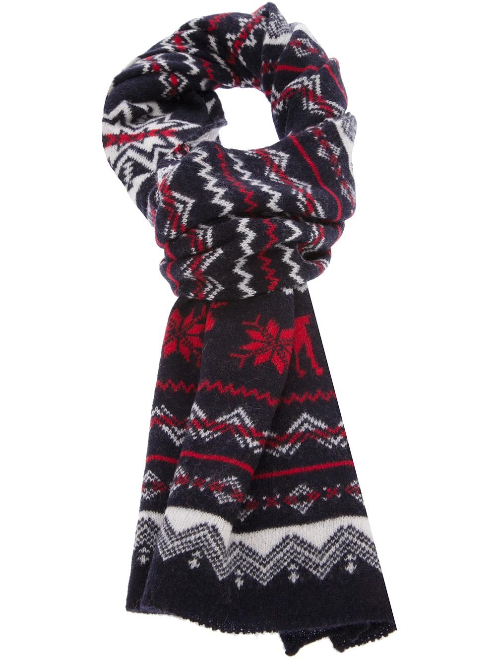 polo ralph fairisle moose scarf in multicolor for