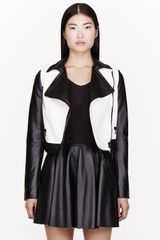 Proenza Schouler Black and White Leather Biker Jacket - Lyst