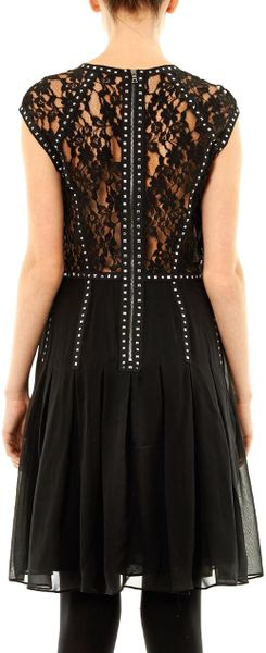 Rebecca Taylor Lace Back Embellished Dress In Black Lyst