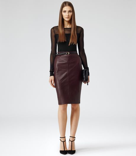 reiss shannon leather pencil skirt in burgundy lyst
