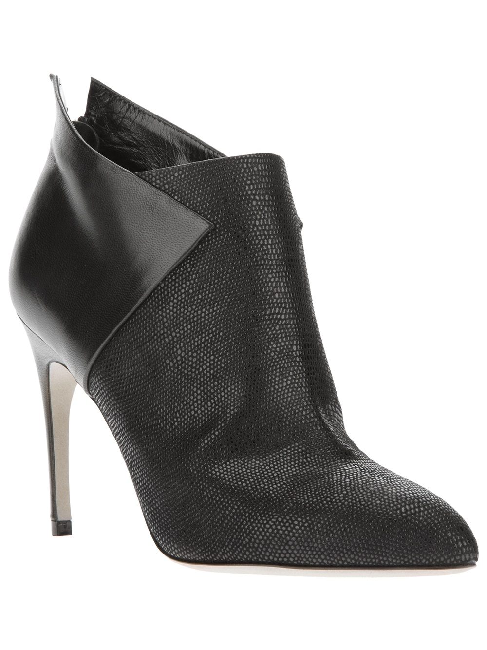 Sergio Rossi Embossed Suede Heeled Boots In Black Lyst
