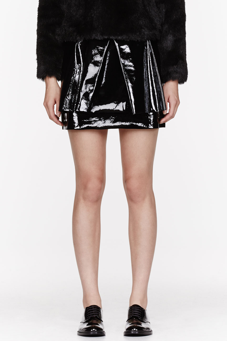 rocha black patent leather skirt in black lyst