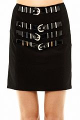 Versace Buckle Detail Mini Skirt - Lyst