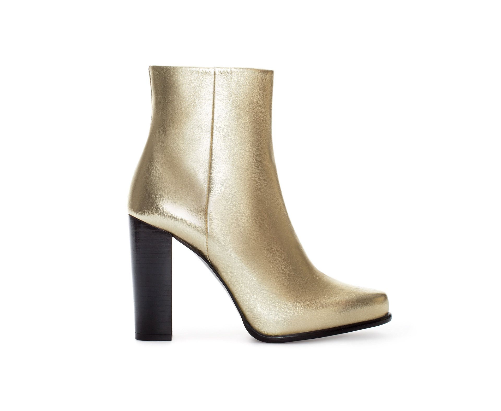 zara gold leather ankle boot in metallic lyst