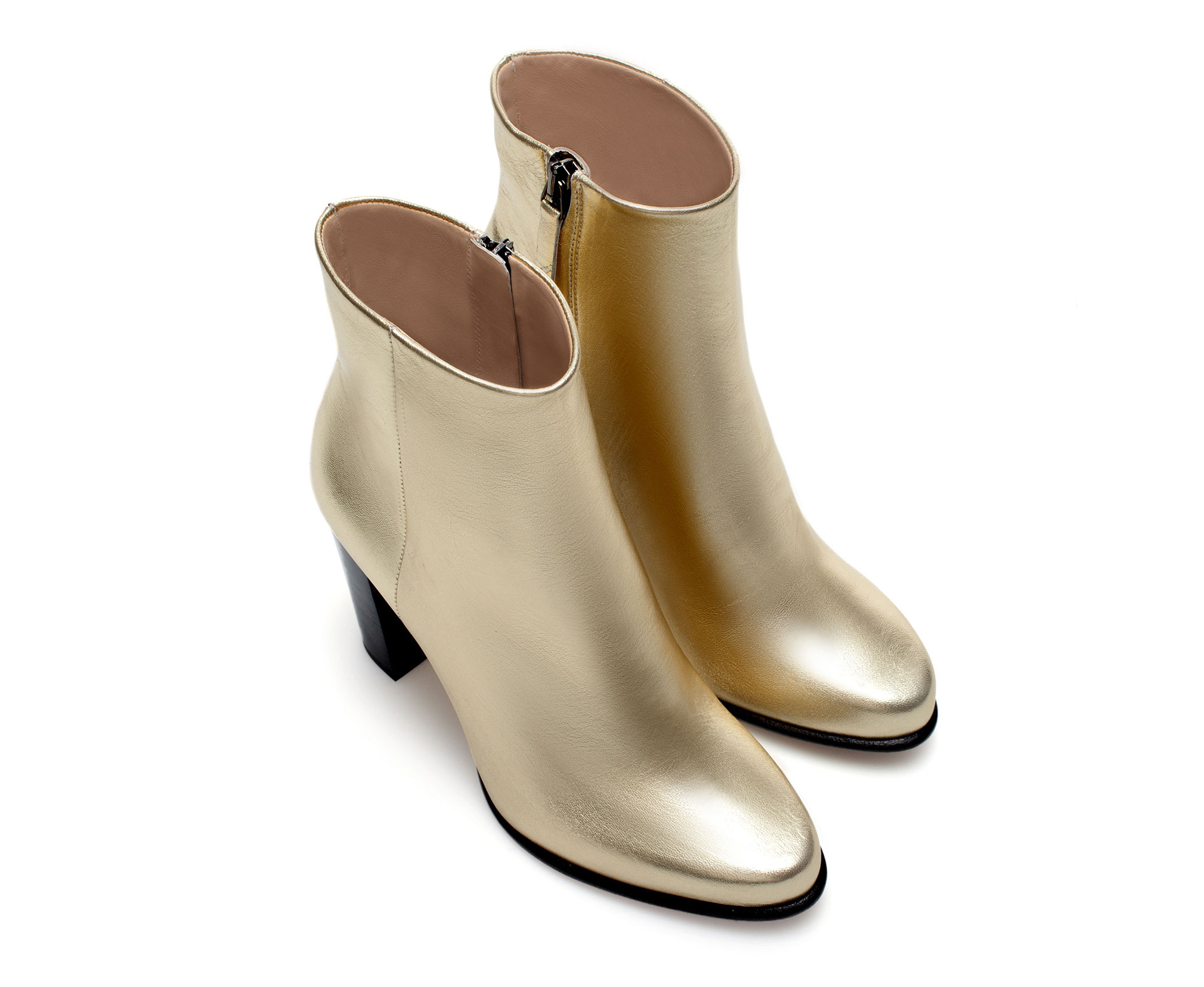Zara Gold Leather Ankle Boot in Metallic | Lyst