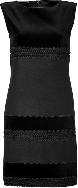 Alberta Ferretti Velvet wool cashmere Paneled Dress in Black - Lyst