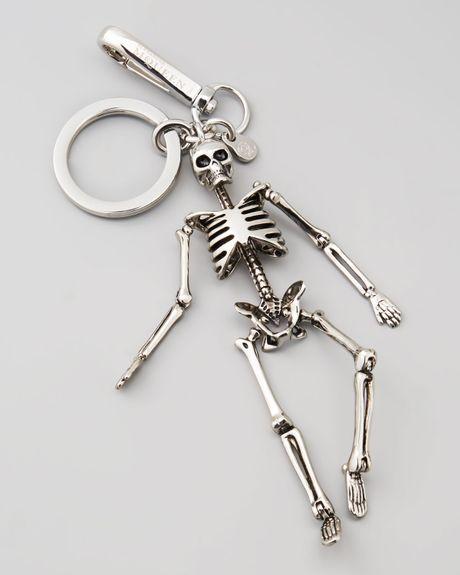 Alexander Mcqueen Mens Skeleton Key Chain In Silver For