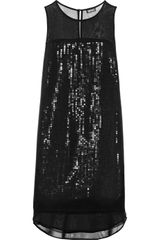 DKNY Sequined Silkblend Georgette Dress - Lyst