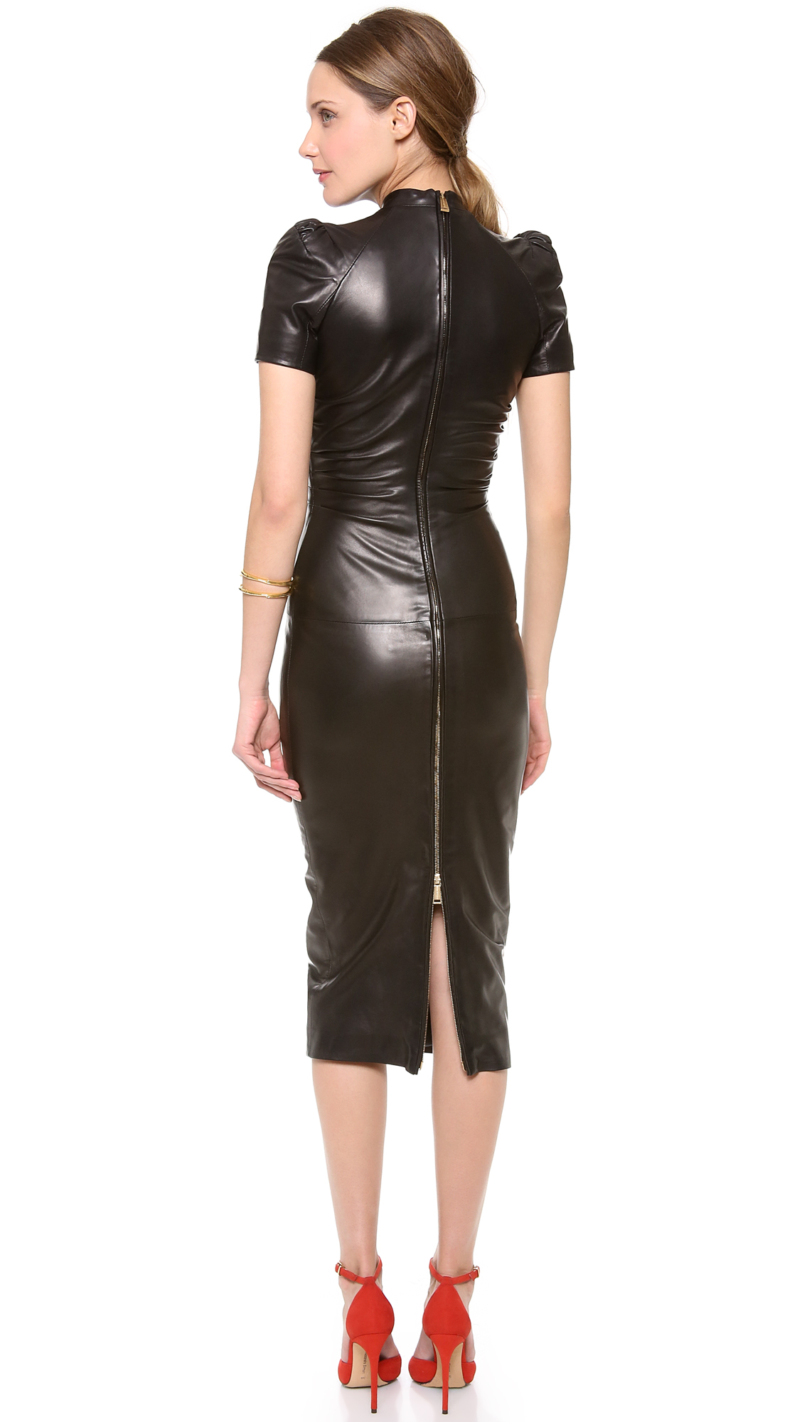 Lyst Dsquared 178 Peggy Ruched Leather Dress In Black