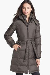 Ellen Tracy Belted Coat with Detachable Hood - Lyst