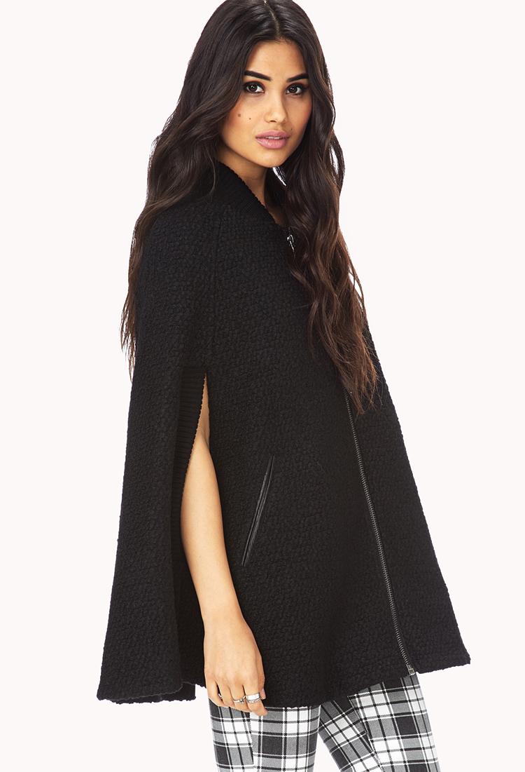 forever 21 black cape jacket
