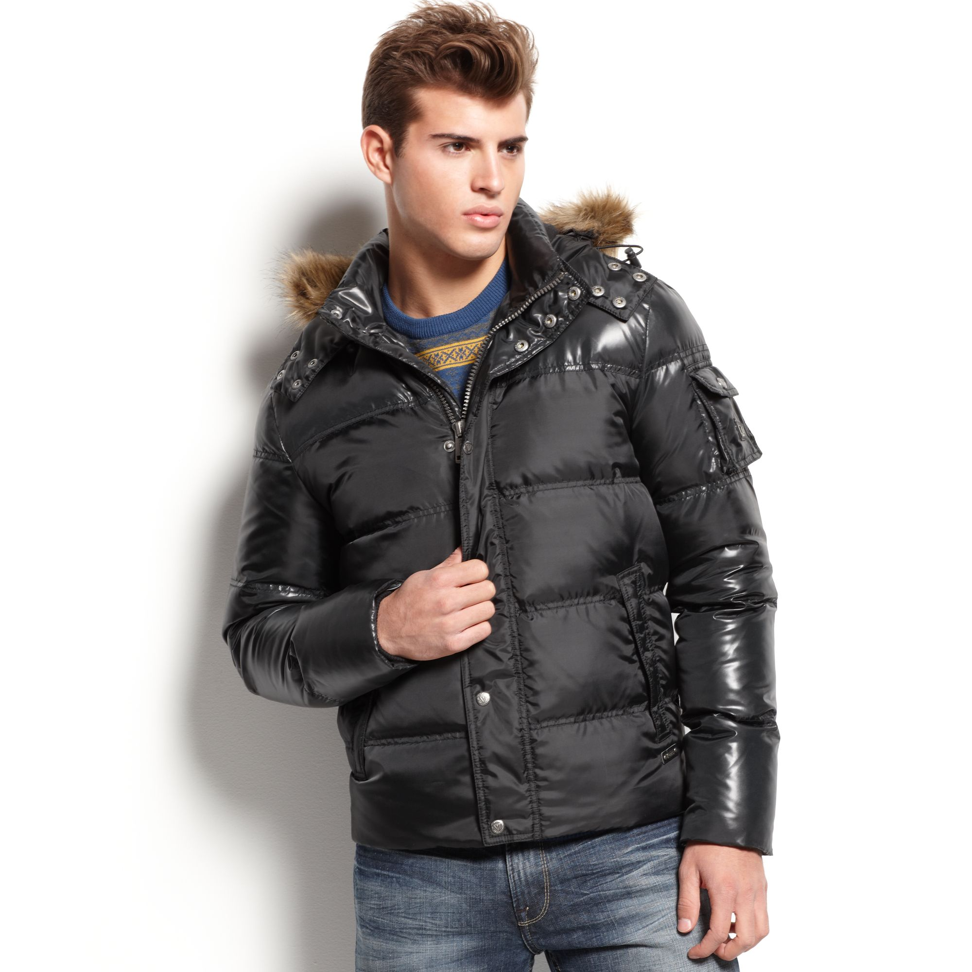 Guess Faux Fur Hooded Puffer Jacket in Black for Men | Lyst
