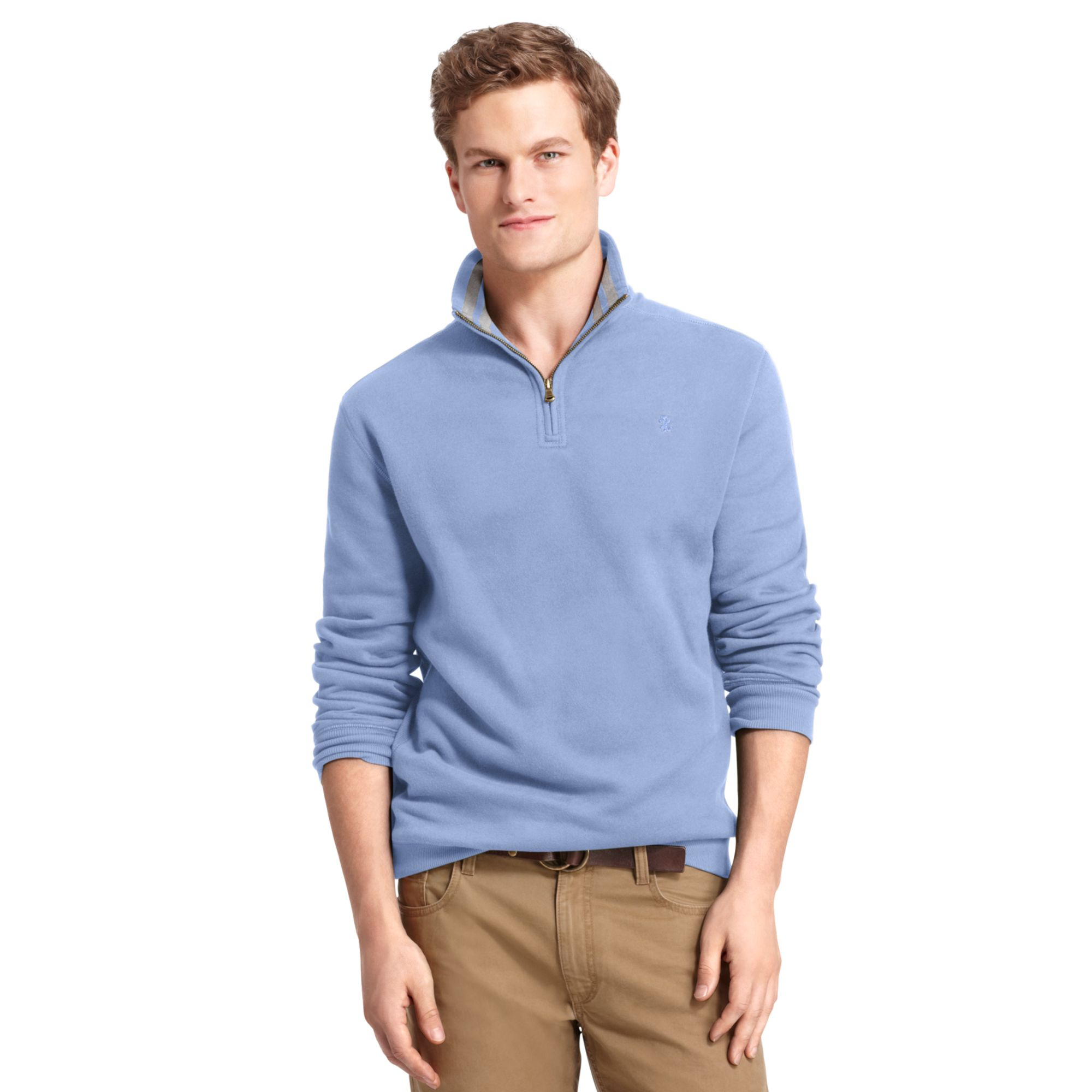 Izod Big and Tall Shirt Sueded Fleece Pullover in Blue for Men | Lyst
