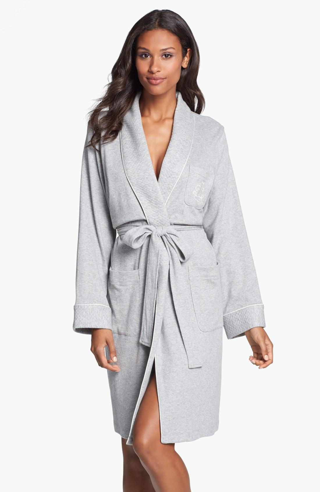 Lauren by ralph lauren sleepwear quilted collar robe in for Robes de mariage de betsey johnson