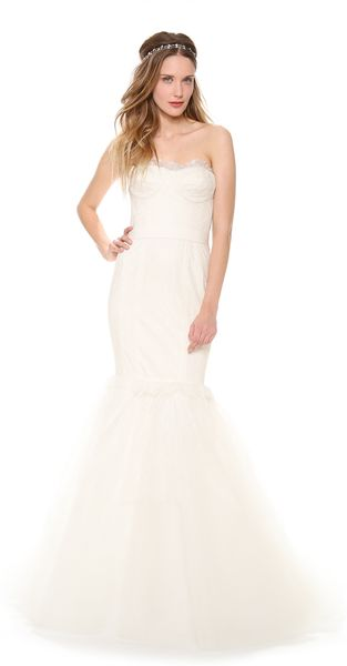 Marchesa Lace Corset Mermaid Gown with Lace Tulle Skirt - Lyst