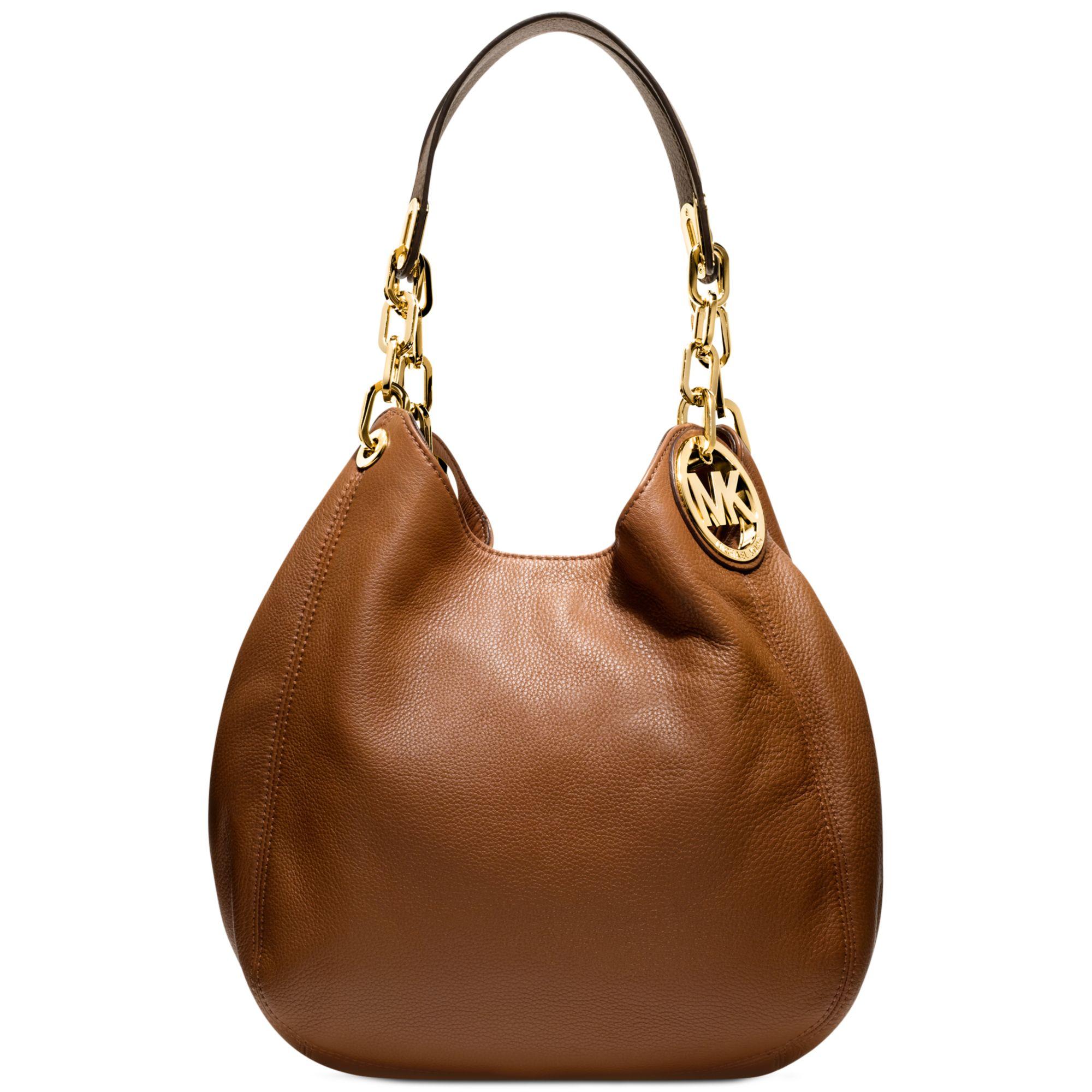 lyst michael kors fulton medium shoulder bag in brown rh lyst com michael kors fulton leather medium convertible shoulder handbag