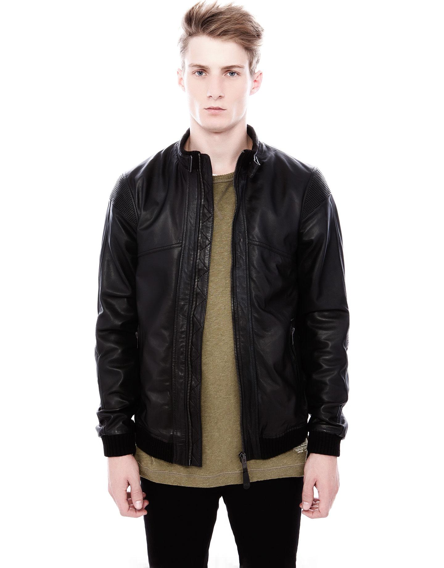 pull bear leather jacket in black for men lyst. Black Bedroom Furniture Sets. Home Design Ideas