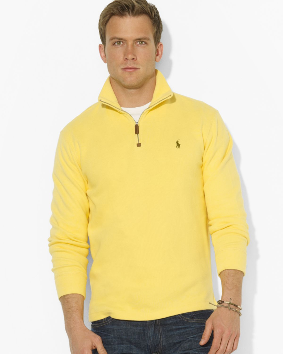 Ralph lauren Polo Frenchrib Halfzip Mockneck Pullover Sweater in ...