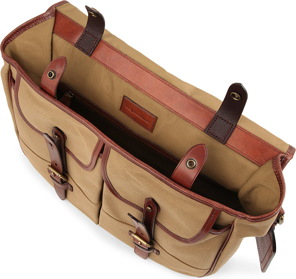ca1ebefa3e16 Ralph Lauren Canvas And Leather Messenger Bag in Brown for Men - Lyst