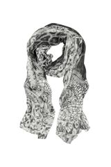 Roberto Cavalli Black and White Lace with Animal Print Silk Stole - Lyst