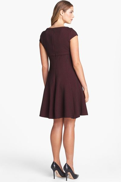 Taylor Dresses Dot Pattern Fit Flare Dress In Red Red
