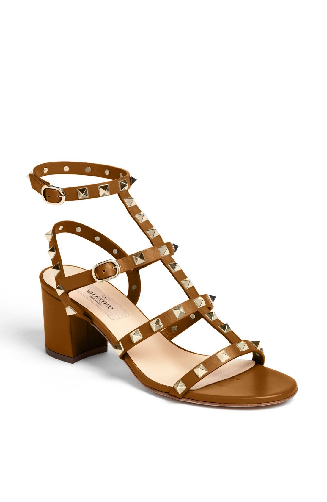 Valentino Rockstud Thong Sandal In Brown Tan Lyst