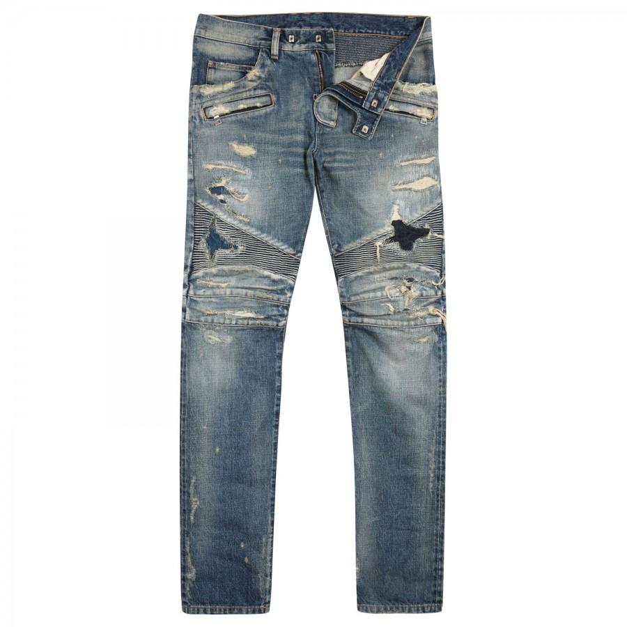 balmain destroyed stretch denim jeans in blue for men lyst. Black Bedroom Furniture Sets. Home Design Ideas