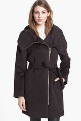 Cole Haan Asymmetrical Zip Belted Alpaca Blend Coat - Lyst