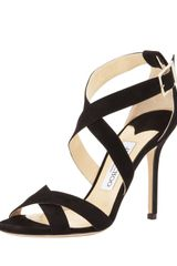 Jimmy Choo Lottie Suede Crisscross Sandal Black - Lyst