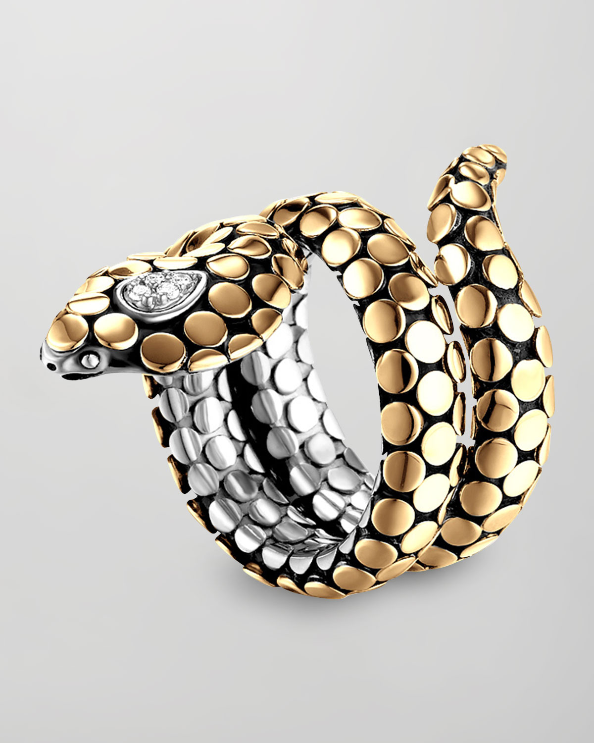John Hardy Dot Goldplate Silver Cobra Ring In Metallic Lyst