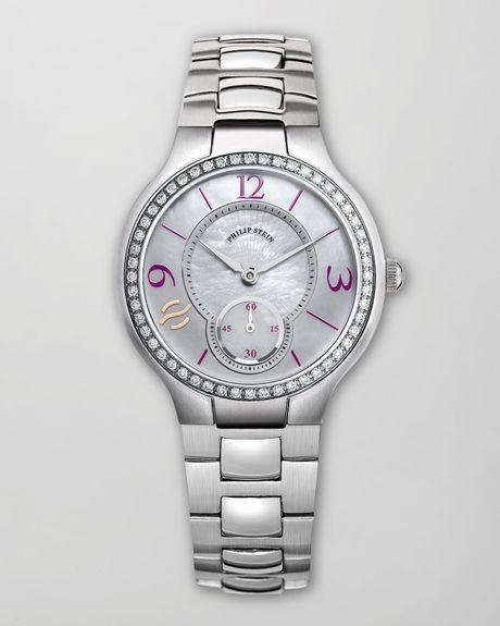 Philip stein small round diamond watch head stainlessaubergine in gray lyst for Philip stein watches