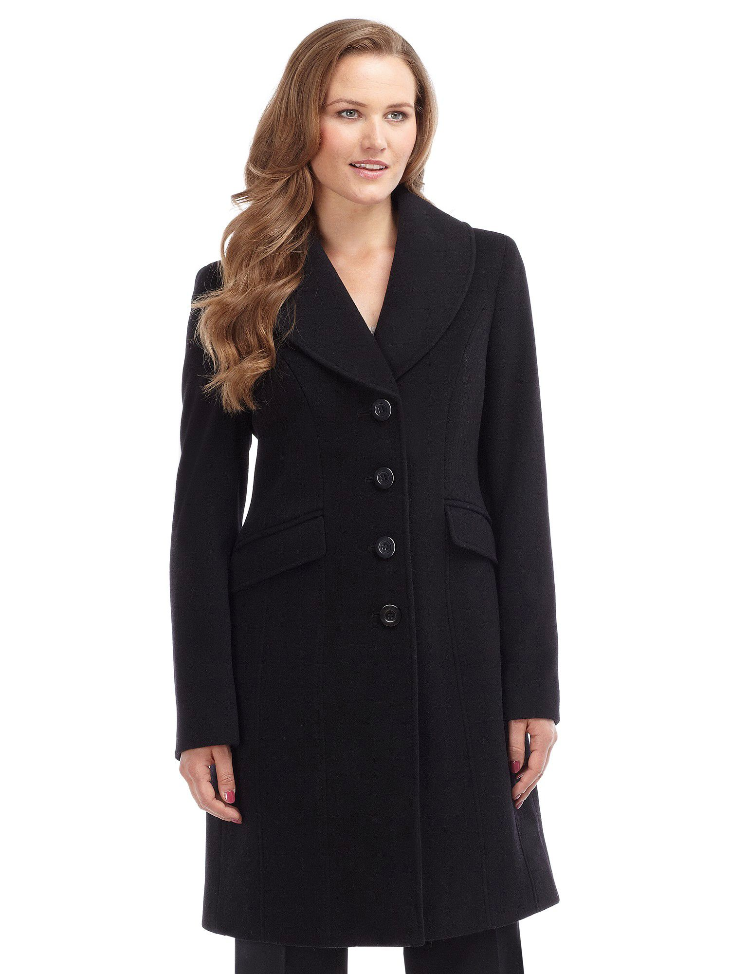 Precis petite Black Wool Coat in Blue | Lyst