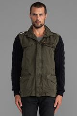 Scotch & Soda Military Jacket W Knit Sleeves in Army - Lyst