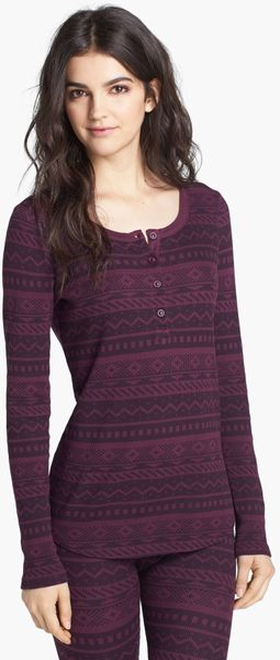 Splendid Fair Isle Thermal Henley in Purple (Eggplant)